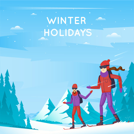 mountainside: Snowboard. Young man and woman on snowboard. Winter Sports. Winter mountain landscape, vacation in the mountains in nature. Flat design vector illustration.