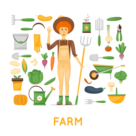 Funny farmer character. Icons set. Healthy food and agriculture. Vegetables. Flat design vector. Isolated. Illustration