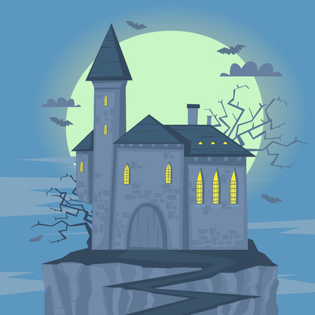 fearful: Happy halloween poster, banner, fly-er. Castle on the hill. Halloween party. Flat design vector illustration.