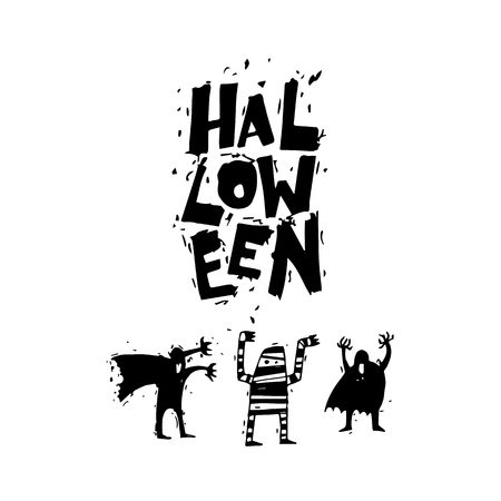 er: Happy halloween poster, banner, fly-er. Bringing, mummy. Black on white. Lettering. Halloween party. Flat design vector illustration.