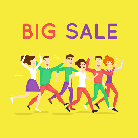 discount store: Sale. Discount. Shopping. Character. Black Friday crowd of people running to the store on sale. Flat design vector illustration.