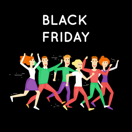 discount store: Black Friday crowd of people running to the store on sale. Discount. Shopping. Character. Flat design vector illustration.