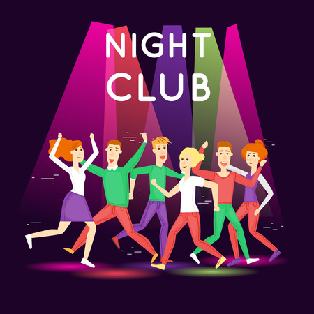 clubber: Night club, parties. People having fun in a club. Character. Flat style. Poster. Illustration