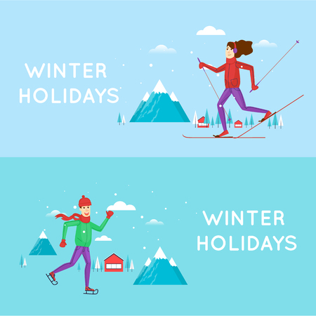 winter fun: Guy skating and girl on skis mountains in the background. Winter landscape, fun, vacation, sports, outdoors. New year. Character. Banners. Flat design vector illustration.
