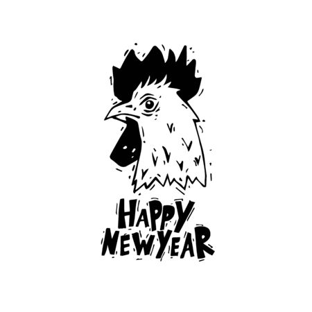 cock hand: Happy New Year. Cock. Hand draw. Black on white. Lettering. Flat design vector illustration.