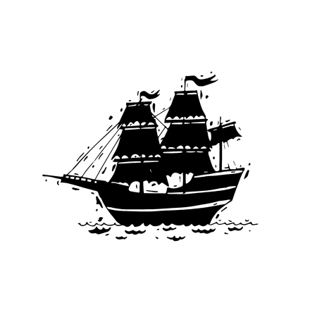 Happy Columbus Day. Ship. Black on white. Hand draw. Lettering. Flat design vector illustration. Vector Illustration