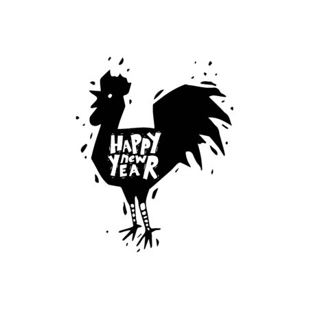 cock hand: Happy new year. Cock. Hand draw. Black on white. Lettering. Flat design vector illustration. Illustration