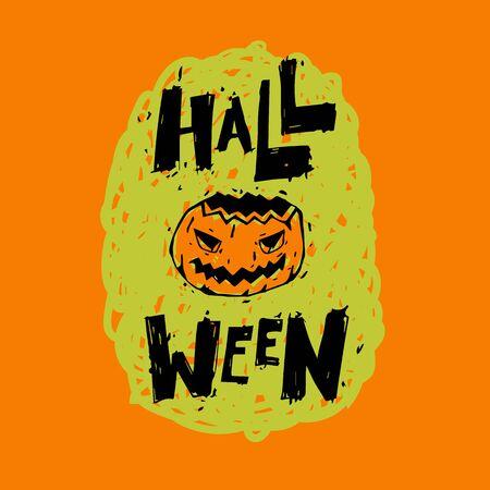 Happy halloween poster, banner, fly-er. Pumpkin. Lettering, calligraphy, lino-cut. Halloween party. Flat design vector illustration. Illustration