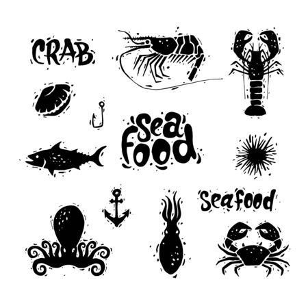 clam illustration: Seafood. Fish, crab, octopus, clam, sea urchin, shrimp. Lettering, calligraphy, lino-cut. Hand-drawn. Flat design vector illustration.