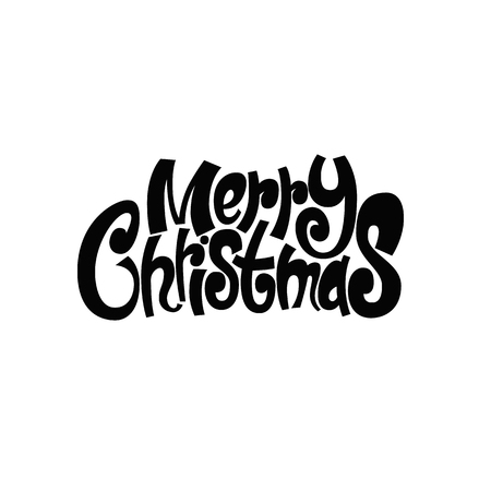 Merry Christmas and Happy New Year. Postcard, banner, printed matter, greeting card. Lettering, calligraphy. Hand-drawn. Flat design vector illustration.