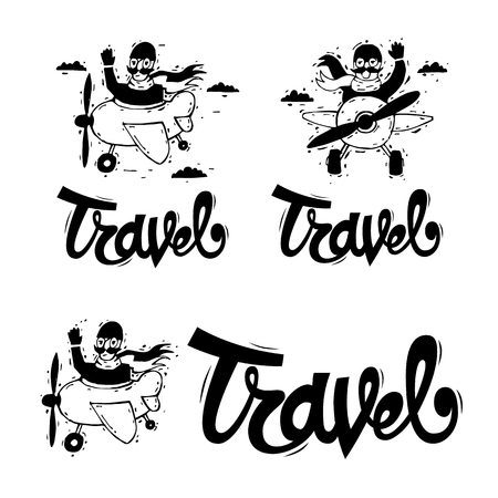 adventure holiday: Traveling by plane, flying, adventure, vacation, holiday, summer. Lettering, calligraphy, lino-cut. Hand-drawn. Flat design vector illustration. Illustration