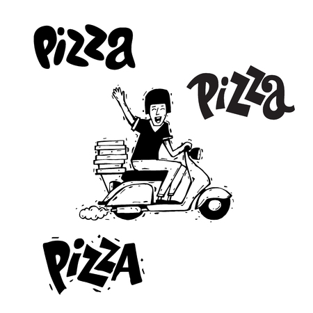 delivery boy: Pizza delivery boy riding motorbike, isolated on white background. Lettering, calligraphy, lino-cut. Hand-drawn. Flat design vector illustration.