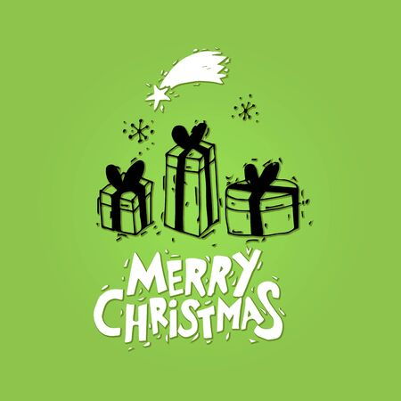 Merry Christmas and Happy New Year. Gifts. Postcard, banner, printed matter, greeting card. Lettering, calligraphy, lino-cut. Black and white. Flat design.