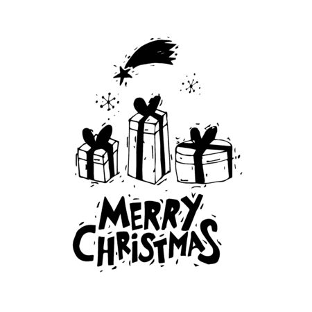 white matter: Merry Christmas and Happy New Year. Gifts. Postcard, banner, printed matter, greeting card. Lettering, calligraphy, lino-cut. Black and white. Flat design.