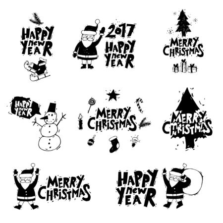 printed matter: Merry Christmas and Happy New Year. Xmas Poster, banner, printed matter, greeting card. Lettering, calligraphy. Santa Claus, snowman, Christmas tree. Hand-drawn. Flat design vector illustration.
