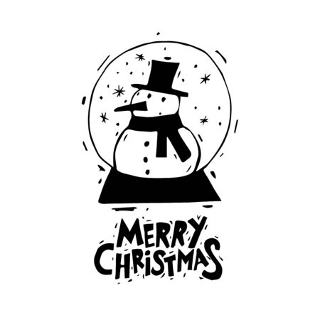 printed matter: Merry Christmas and Happy New Year. Snowman in a bowl. Xmas Poster, banner, printed matter, greeting card. Lettering, calligraphy. Hand-drawn, lino-cut. Flat design vector illustration.