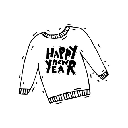 Merry Christmas and Happy New Year. Christmas sweater. Xmas Poster, banner, printed matter, greeting card. Lettering, calligraphy. Hand-drawn, lino-cut. Flat design vector illustration.