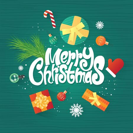 Merry Christmas and Happy New Year. Xmas Poster, banner, printed matter, greeting card. Lettering, calligraphy. Gifts on the floor top view. Flat design vector illustration.