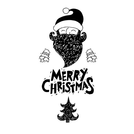 printed matter: Merry Christmas and Happy New Year. Xmas Poster, banner, printed matter, greeting card. Lettering, calligraphy. Santa Claus. Hand-drawn, lino-cut. Flat design vector illustration. Illustration