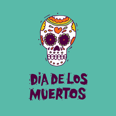 Day of the Dead. Mexican human skull. Lettering. Lino-cut. Flat design vector illustration.