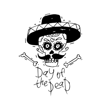 Day of the Dead. Mexican human skull with sombrero hat. Lino-cut. Flat design vector illustration. Illustration