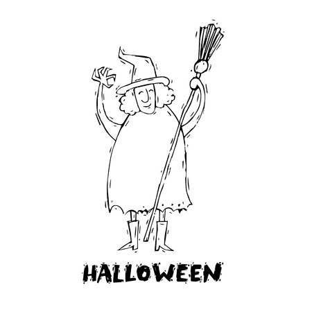 Happy halloween poster, banner, fly-er. Scarecrow. Black on white. Lettering, hand-drawn, lino-cut. Halloween party. Flat design vector illustration.