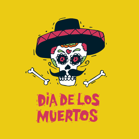 Day of the Dead. Mexican human skull in sombreros. Lettering. Hand-drawn, lino-cut. Flat design vector illustration. Illustration