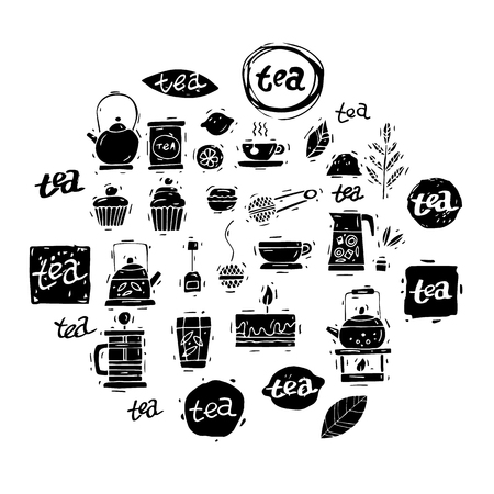 coffee and cake: Tea icon set. China. Hand drawn vintage lettering. Sketch. Isolated objects on white background. Vector illustration. Illustration