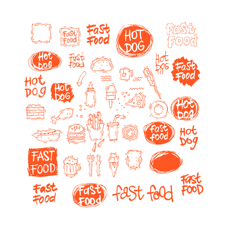 fry: Fast food icon set hot dog, hamburger, pizza slice, ice cream. Fast food menu. Lettering. Hand-drawn illustration. Sketch. Isolated objects on white background. Vector illustration.