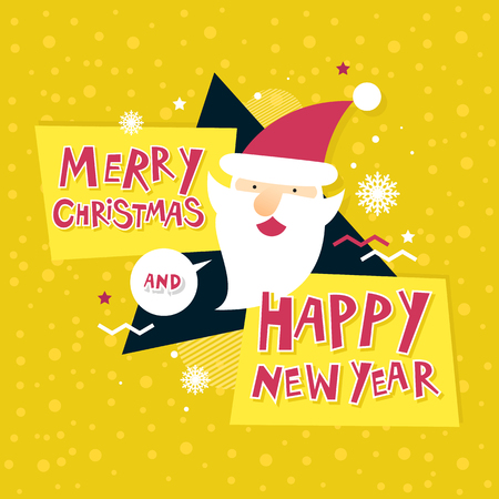 Merry Christmas and Happy New Year. Xmas Poster, banner, printed matter, greeting card. Lettering, calligraphy. Santa Claus. Flat design vector illustration.