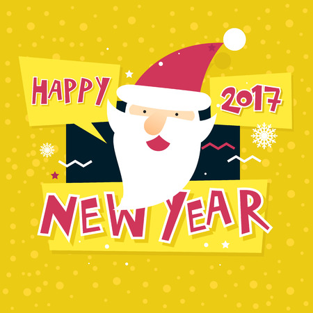 printed matter: Merry Christmas and Happy New Year. Xmas Poster, banner, printed matter, greeting card. Lettering, calligraphy. Santa Claus. Flat design vector illustration.