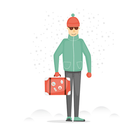 adventure holiday: Tourism winter holidays, travel. Character design. Guy with the suitcase on a white background. Trip to Europe. World Travel. Planning winter adventure. Holiday. Flat design vector illustration. Illustration