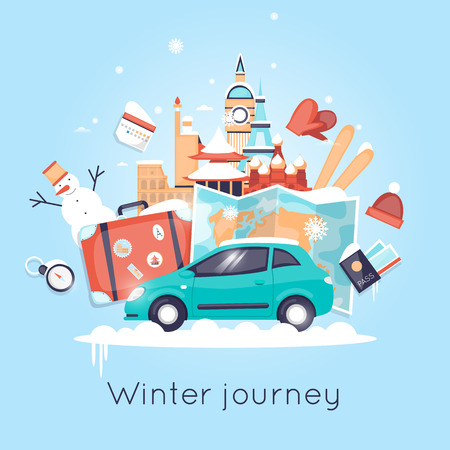 winter car: Travel by car Russia, USA, Japan, France, England, Italy. World Travel. Planning winter vacations. Winter holiday. Tourism and vacation theme. Flat design vector illustration. Illustration