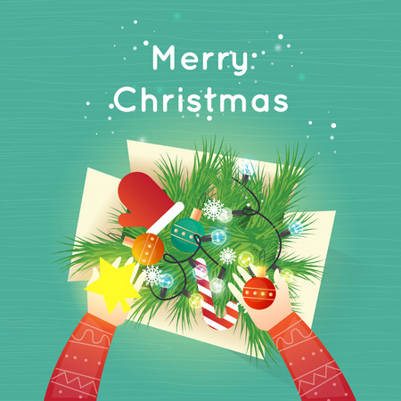 Merry Christmas and Happy New Year. Xmas Poster, banner, printed matter, greeting card. Box with Christmas decorations. Flat design vector illustration. Stock Illustratie