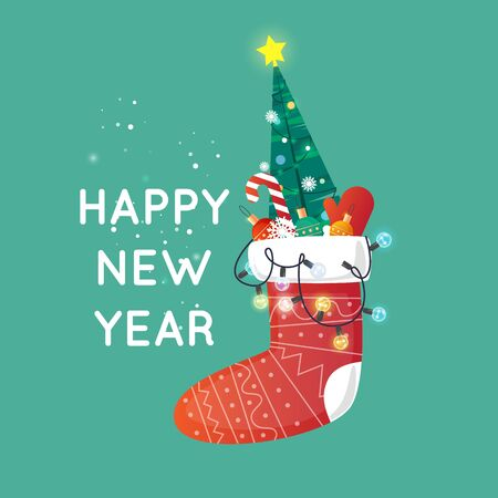 Merry Christmas and Happy New Year. Xmas Poster, banner, printed matter, greeting card. Christmas sock with flashlights. Flat design vector illustration.