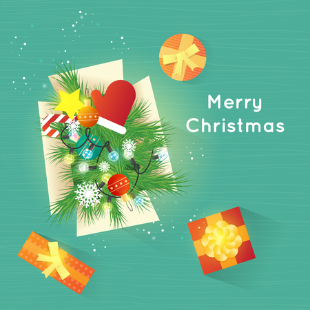 Merry Christmas and Happy New Year. Xmas Poster, banner, printed matter, greeting card. Box with Christmas decorations. Gifts on the floor top view. Flat design vector illustration.