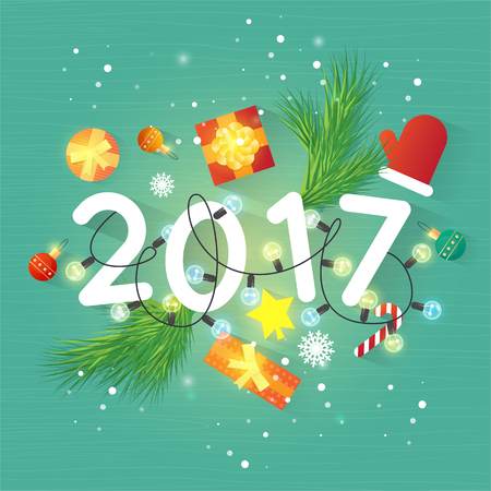 Merry Christmas and Happy New Year. Xmas Poster, banner, printed matter, greeting card. Gifts on the floor top view. Flat design vector illustration.