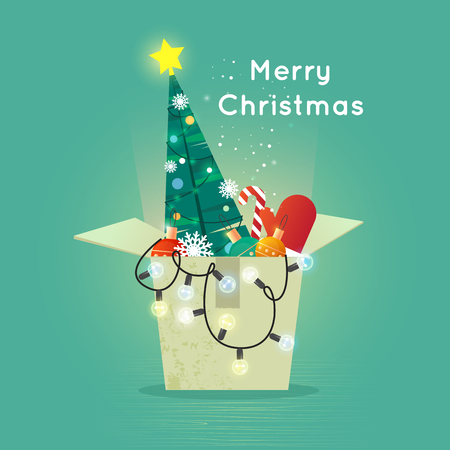 printed matter: Merry Christmas and Happy New Year. Xmas Poster, banner, printed matter, greeting card. Box with Christmas decorations. Flat design vector illustration. Illustration