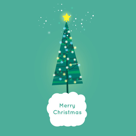 printed matter: Merry Christmas and Happy New Year. Xmas Poster, banner, printed matter, greeting card. Christmas tree decorated with flashlights. Flat design vector illustration. Illustration