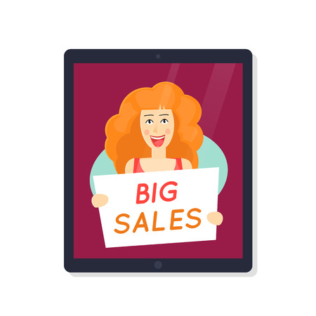 ber: Cy-ber Monday. Happy girl with a big sale banner in tablet. Discount. On-line shopping. Character. Flat design vector.