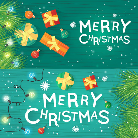 printed matter: Merry Christmas and Happy New Year. Xmas Poster, banner, printed matter, greeting card. Gifts on the floor top view. Wooden board. Banners. Flat design vector illustration.