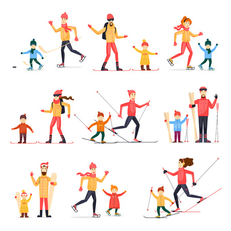 Winter sports with adult children. Skiing, skating, snowboarding, hockey. Characters. Flat design vector illustration.