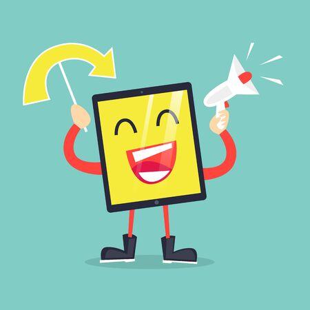 Cy-ber Monday. Online shopping, sale. Computer. Flat design vector illustration.