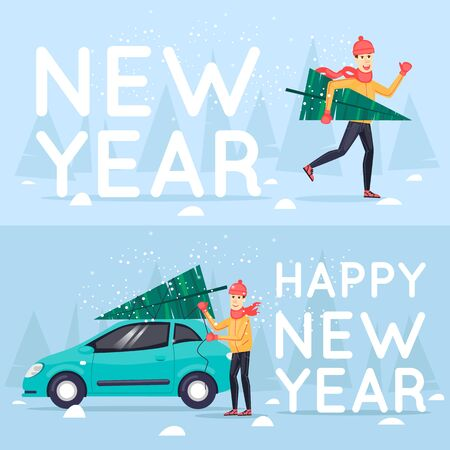 printed matter: Man carrying a Christmas tree, binds man to spruce cars. Merry Christmas and Happy New Year. Xmas Poster, banner, printed matter, greeting card. Flat design vector illustration.