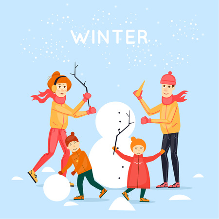 printed matter: Family sculpts snowman. Merry Christmas and Happy New Year. Xmas Poster, banner, printed matter, greeting card. Flat design vector illustration.