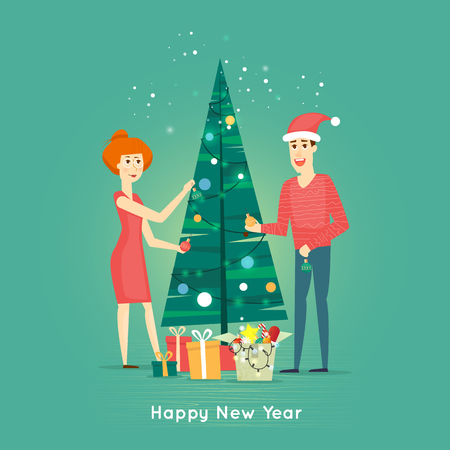 Happy family decorating Christmas tree. Merry Christmas and Happy New Year. Xmas Poster, banner, printed matter, greeting card. Gifts. Flat design vector illustration. Stock Illustratie