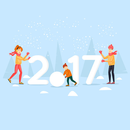 Family on the nature of the snow sculpting. Merry Christmas and Happy New Year. Xmas Poster, banner, printed matter, greeting card. Flat design vector illustration. Illustration