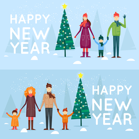 Family spending christmas outdoors. Merry Christmas and Happy New Year. Xmas Poster, banner, printed matter, greeting card, banners. Flat design vector illustration.