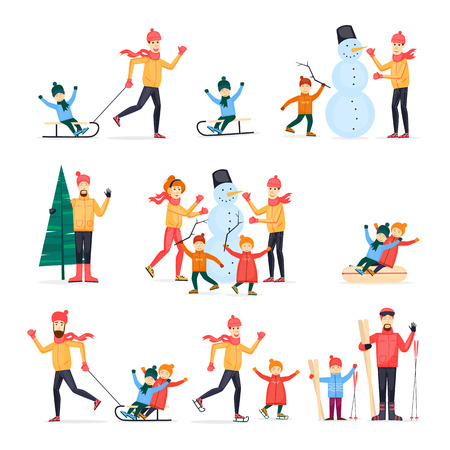 Winter sports with adult children. Family. Skiing, skating, snowboarding, hockey. Characters. Flat design vector illustration.