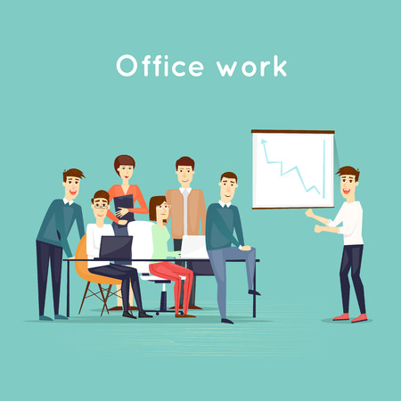 office presentation: Business characters. Teamwork. Presentation. Workplace. Office life. Flat design vector illustration. Illustration